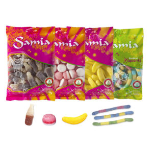 Samia propose une large gamme de bonbons halal en sachet de 200g