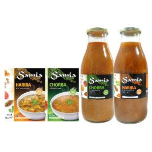 Samia propose une soupe chorba et harira en sachet ainsi qu'en bouteille
