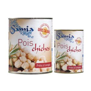 Deux formats de pois chiches en conserve Samia